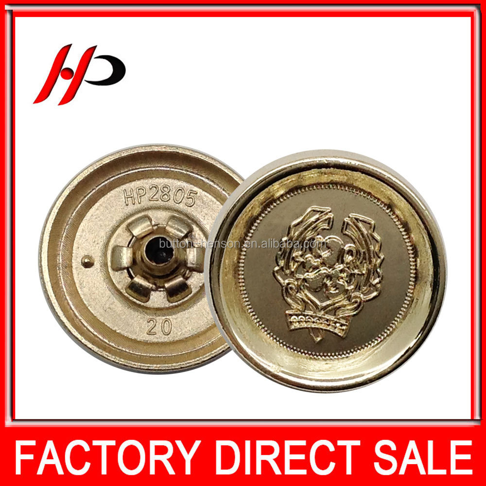 Yiwu wholesale cheap gold christmas colorful large dress decorative 20mm metal button