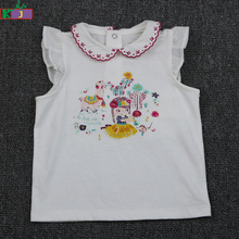 Wholesale Infant Girl Clothes Cartoon Printing Ruffle Sleeve 100% Cotton Baby Girl T-shirt