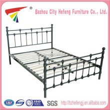 Factory price sprung wooden slats metal double bed