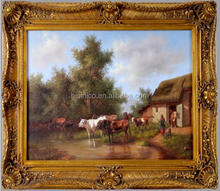 Country Style Landscape Hand-painted Oil Painting Picture, Magnificent Wall Mounted Oil Painting with Frame