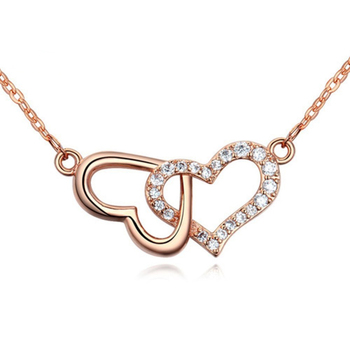 Christmas gift custom stainless steel rose gold plated couple jewelry fashion cz heart pendant