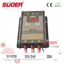 Suoer Intelligent PWM Solar Controller 12V 30A Waterproof Solar Charge Controller IP67 Solar Regulator