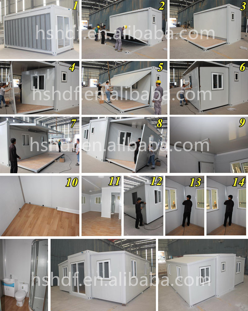 Easy install good heat light steel expandable container homes design