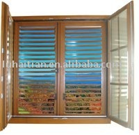casement wooden window with louvers