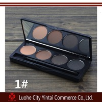 2015 Hot sale professional eyeshadow eye brow makeup waterproof 4 color eyebrow powder + double end brush make up palette set