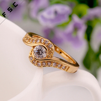 custom geometric shape double layered cz yellow gold plated stainless steel ring for women