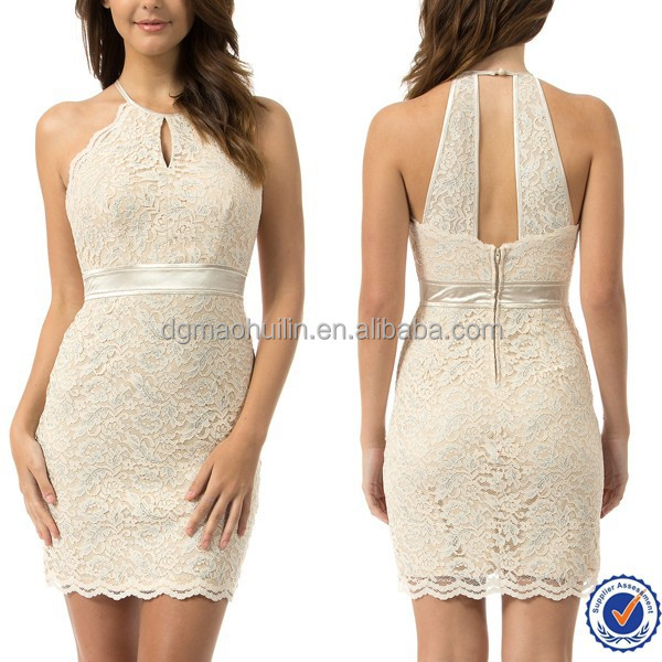 factory wholesale women clothing lace dress patterns champagne color halter cocktail dress one piece grils party dress