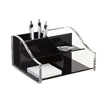 clear and black acrylic desktop organizer, plastic pencil storage accessories, perspex memo holder