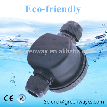Round type 2 holders black plastic IP66 waterproof junction box