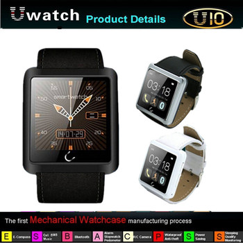 New!!! 1.54 Inch U10 U Smart Anti-lost Bluetooth Watch Waterproof Smart Android Watch For Andriod Phone Samsung HTC Smartphones