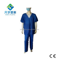 disposable SBPP SMS nonwoven dark blue hospital clothing surgical patient gown scrub suit