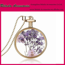 Fashion gifts jewelry round clear glass accessories pendant jewelry necklace,alloy round locket necklace within real dry flowers