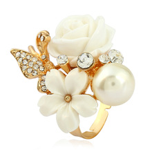CS00435 JN wholesale dropshipping suppliers usa crystal rose flower jewelry rings women