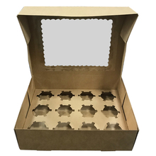 wholesale kraft paper cupcake boxes 12 with window bakery/muffin box