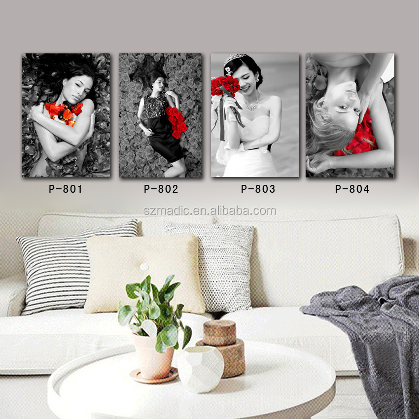 Modern Black White and Red Wall Art Canvas Beautiful Woman Oil Painting Beauty and Rose Flower 4 Pieces Large Wall Decoration