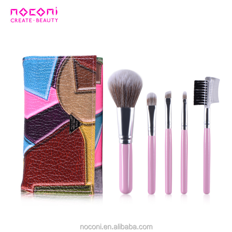 Noconi 5 pcs top grade nylon hair series cosmetic brushes kit with purple PU bag