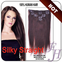 Professional factory human hair clip in hair extension for white women