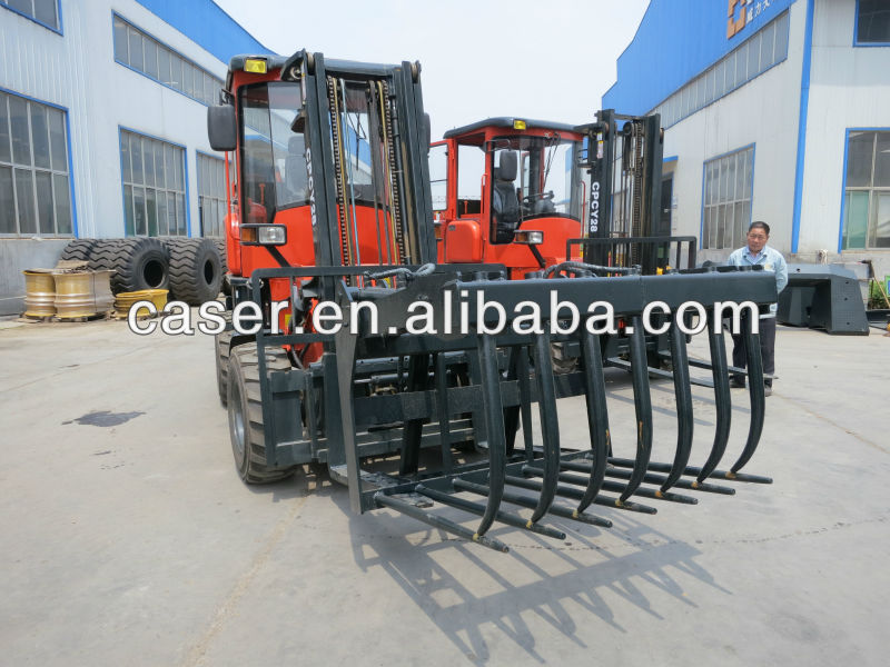 Rough Terrain Forklift, Tilting Grapple fork with CE