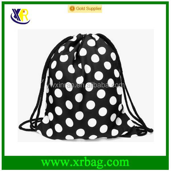 Women Mochila Man Sport Gym Bags Travel Backpack White Dot Printed Nylon Drawstring Bag