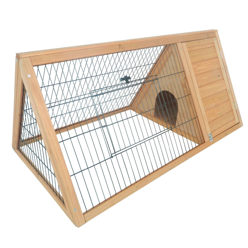 Triangular Wooden Rabbit Hutch/Guinea Pig House with Run