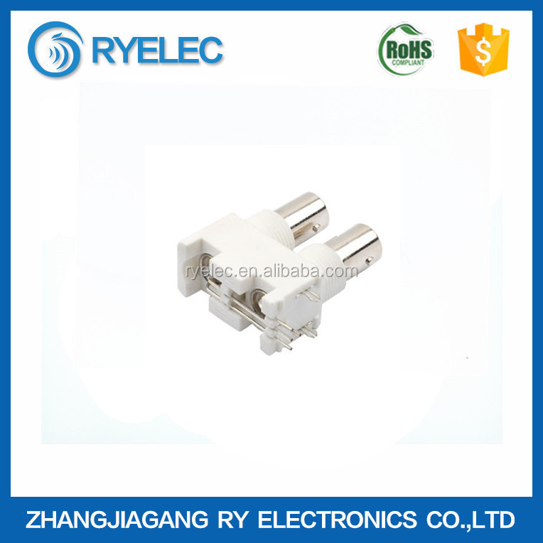 RF Coaxial Connector BNC Jack Dual Ports R/A for PCB with White Housing Adapter