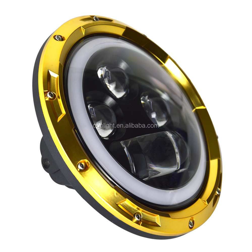 "hi/lo beam black/chrome/golden color hola 7"" round led headlight 4x4 7 inch 60w led off road"
