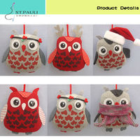 hot product 5 inch christmas tree hanging novelty owls stuffed toy cute owl plush toy