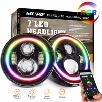 "RGB SPINNING HALO Angel Eyes 7"" LED Headlight For Jeep Wrangler Round RGB Halo 7 inch LED Headlight 40W"
