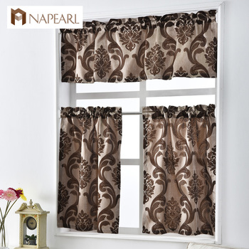 NAPEARL Short kitchen curtains shade window treatments modern door jacquard thick cafe curtain panel ready made luxury European