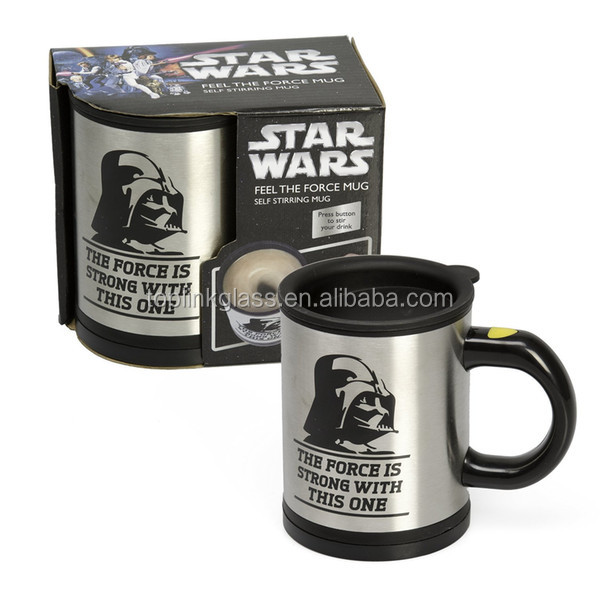 Stainless Steel Electric Coffee Mixing mug Automatic Self Stirring star mug with war logo