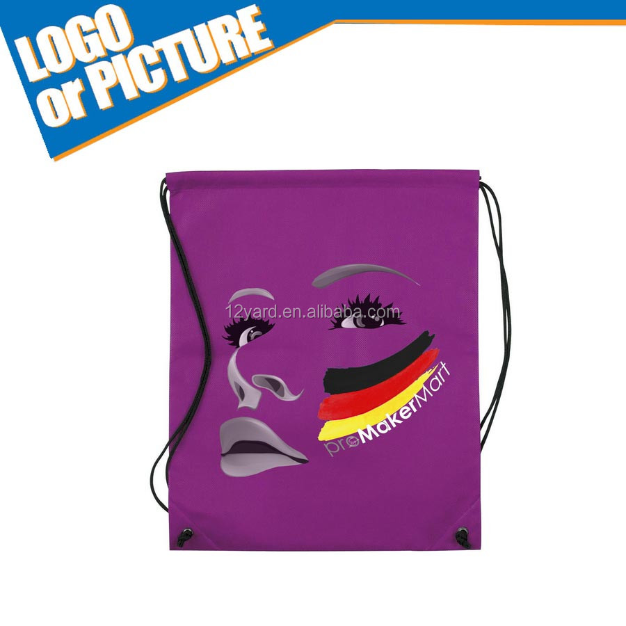 Cheap sale digital sublimation logo drawstring shopping bag printed for girl