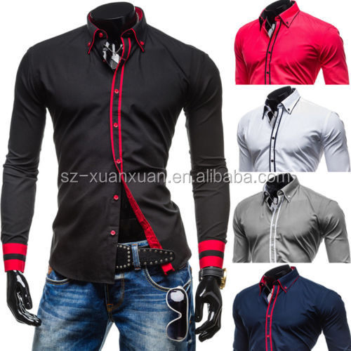 2015 Newest Customized 100% cotton business slim fit men's shirt