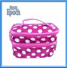 Fancy dot pattern double layer make up bag with mirror