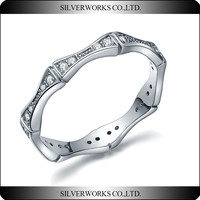 New pave setting 925 Sterling Silver Jewelry 925 Silver CZ stone Rings for girls