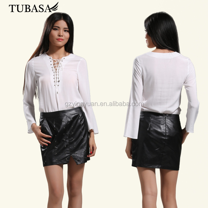 China supplier tubasa 100% rayon bandage front plain dyed long sleeve lady blouse and shirt
