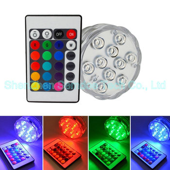 waterproof remote control battery operated led lights 10 leds rgb