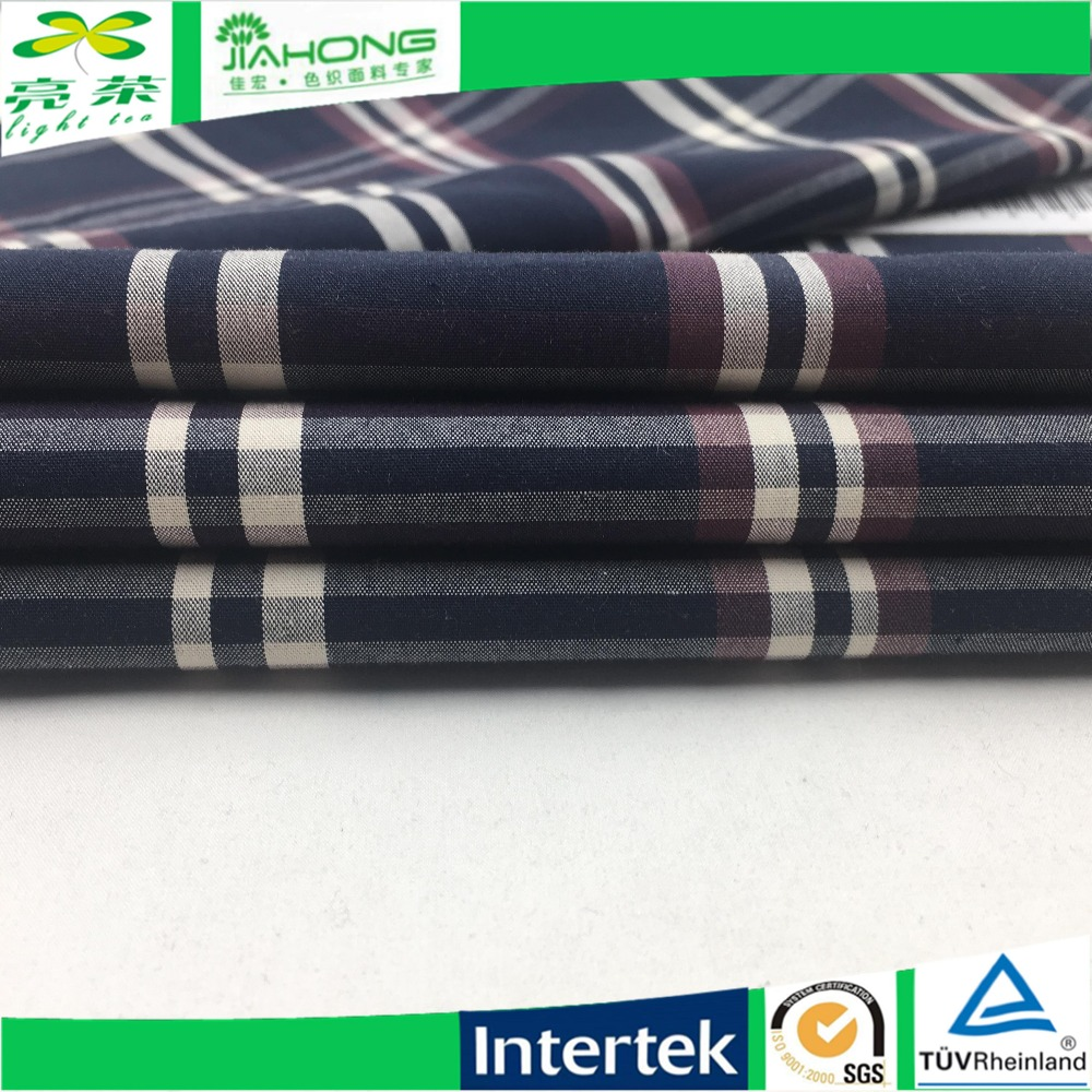 Fabric china 100 cotton poplin blue and white check fabric