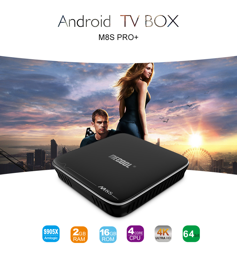 DRM widewine M8S Pro+ amlogic S905x 2G+16G smart tv box android 7.0 same mag 254 ip android tv box