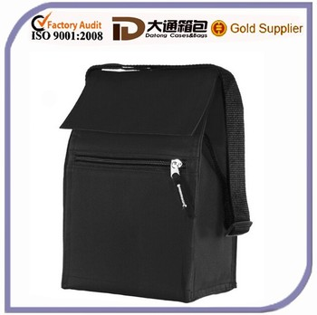Black Polyester Insulated Lunch Travel Cooler Bags Picnic Cool Bags