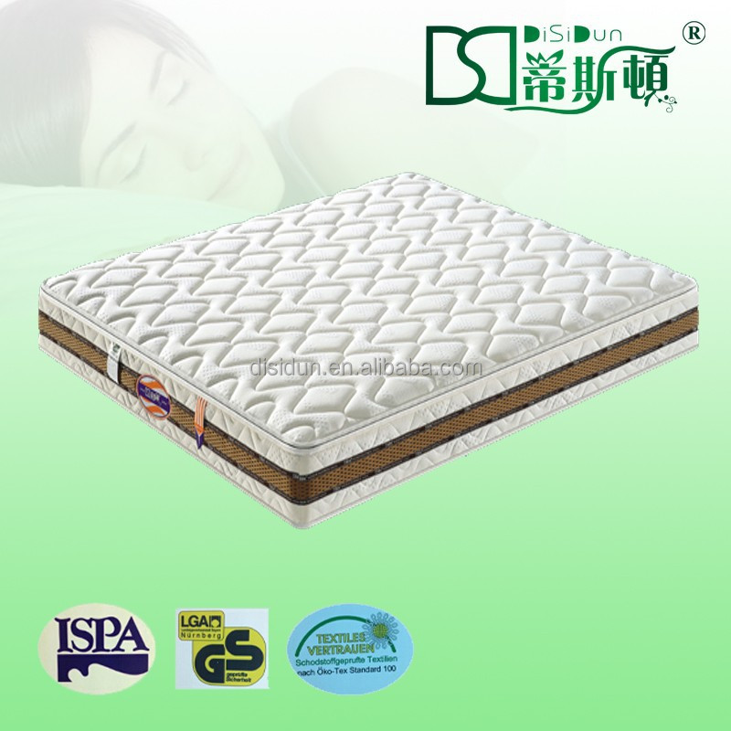 yellow fabric cover double pillow top mattress 3D bagged spring mattress - Jozy Mattress   Jozy.net