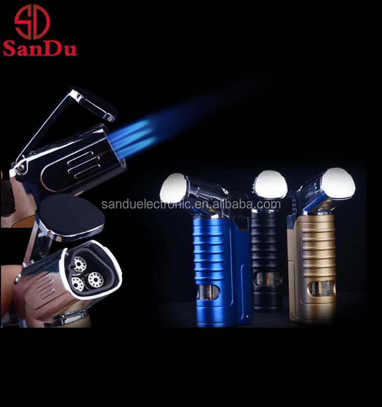 2017 best selling triple jet flame butane cigarette lighter refill gas torch