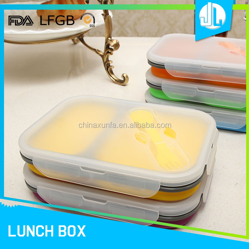 Healthy folding FDA collapsible silicone lunch box