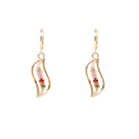 Fashion gold plated jewelry top design long CZ charm earring,drop earrings jewelry for woman