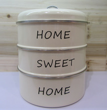New 3-tiered metal cake box tea cookies canister storage tin jar