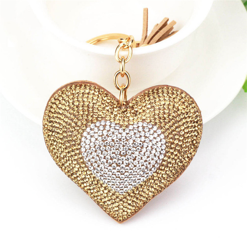 Hot sell double color synthetic diamond peach heart keyring Tassel keychain bag pendant