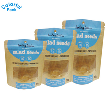 250g food grade ziplock stand up kraft paper packaging bags chia seed packaging bag with clear window