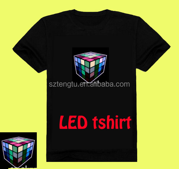 100 styles LOGO choose Sale Sound Activated LED T Shirt Light Up