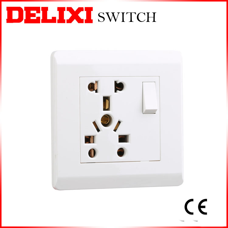 DELIXI Multi-function 13 amp PC 250v switch socket