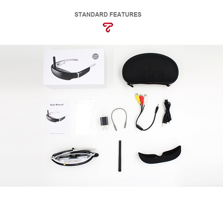 New arrival 5.8G FPV video glasses with front camera Goggles Eyewear Glasses