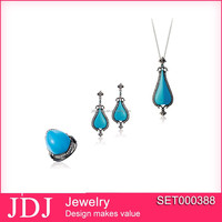 wholesale black plating beautiful artificial turquoise 925 silver jewelry set